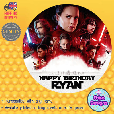 """7.5/"""" PERSONALISED EDIBLE ICING CAKE TOPPER STAR WARS LAST JEDI BB8 R2D2 BB9E"""