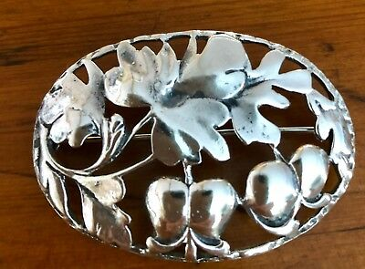 Antique Art Nouveau Sterling Floral Pin- beautiful detail.