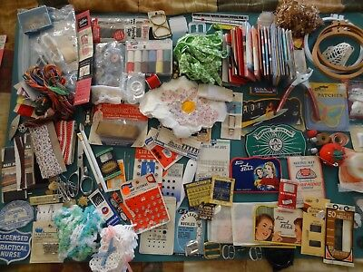 Lot of Vintage Sewing Notions, antique lot misc needles bobbins patches supplies