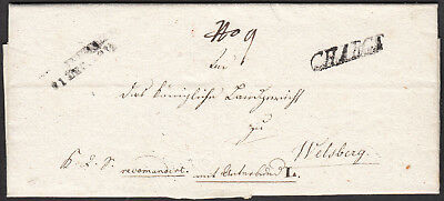 "Vorphila - ""INNSBRUCK/21. Dec. 1812"" + ""CHARGE"", Rekobrief nach Welsberg"