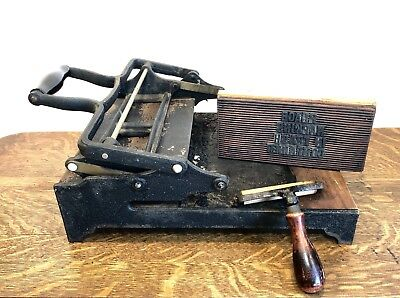 Antique Cast Iron & Wood Printing Press With Letter Pad & Cast Iron Roller