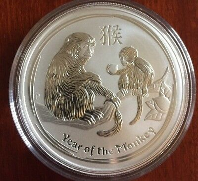 2016 Australian Perth Mint Lunar Monkey 5 oz Silver Coin