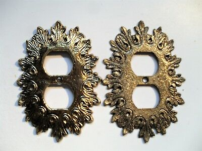 "2 Vintage Ornate Brass Double Outlet Covers  4.125"" X 5.875"""