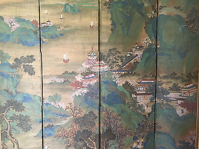 Huge and Important Chinese Antique Painting on Silk Room Screen, Artist Signed.