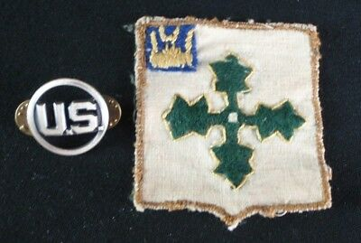 Vintage US Army WWI 4th Infantry Division Theater Made Patch & United States Pin