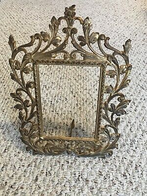 Antique Victorian Gold Gilded Easel Cast Iron Picture 5x7 Frame Marked No Glass