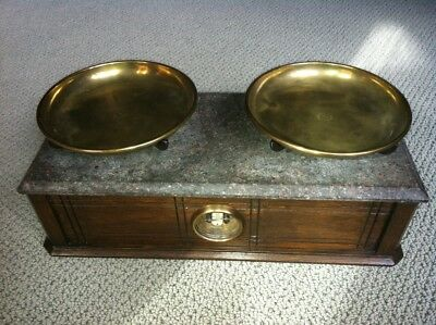 Vintage Antique Henry Troemner Oak & Marble Apothecary 5# Balance Scale