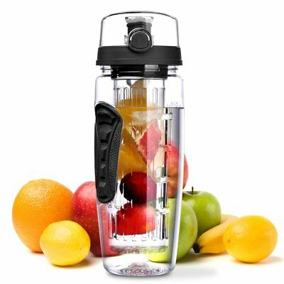 32oz Fruit Infusing Infuser Water Bottle Sports Detox Health + Cleaning Brush US