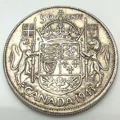 1943 Canada Fifty 50 Cents Wide Date Silver Circulated Canadian Coin D314