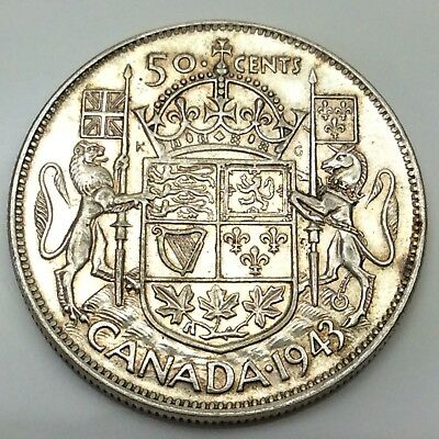 1943 Canada Fifty 50 Cents Wide Date Silver Circulated Canadian Coin D315