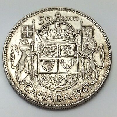 1943 Canada Fifty 50 Cents Near Date Silver Circulated Canadian Coin D316