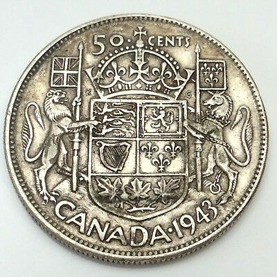 1943 Canada Fifty 50 Cents 800 Silver Circulated Canadian Coin D320