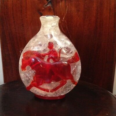 VINTAGE/Antique CHINESE PEKING GLASS SNUFF BOTTLE-Hand Carved Auspicious Symbols