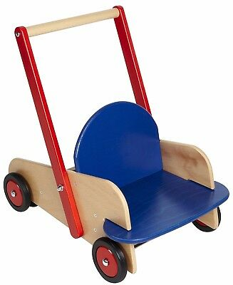 HABA Walkers Walker Wagon, Wooden Push Toy with Seat Storage, Made in Germany