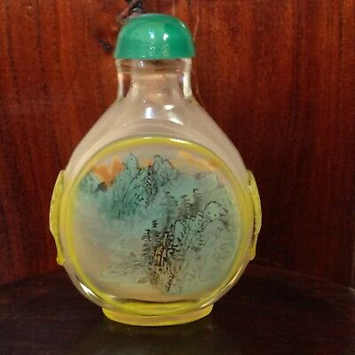 VINTAGE/Antique CHINESE PEKING GLASS SNUFF BOTTLE-Inverse Hand Painted Sceneries