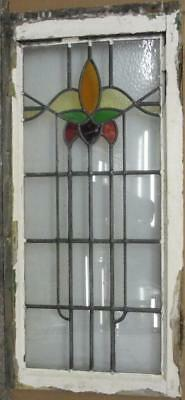 "LARGE OLD ENGLISH LEADED STAINED GLASS WINDOW Gorgeous Floral Abs. 17.5"" x 37.5"""
