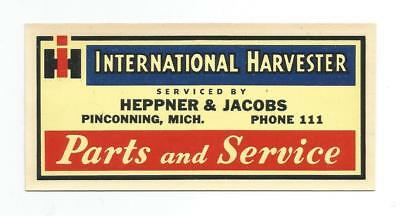 International Harvester IH Parts Service DECAL Heppner & Jacobs Pinconning Mich