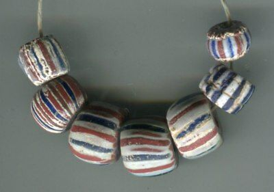 African Trade beads Vintage Venetian or Dutch old 1700-1800's striped chevrons
