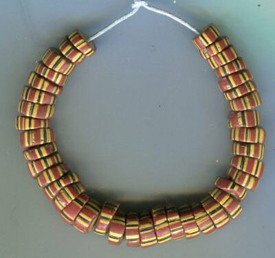 African Trade beads Vintage Venetian glass unusual yellow core striped beads