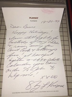 Playboy Playmate Sharon Konopski Signed Letter Dated And Kiss Print Rip 8/2017