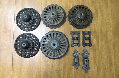 Lot of Vintage Cast Iron Oil Lamp Wall Hanging Holder Pieces Victorian Art Deco