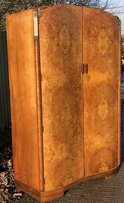 Fine Walnut Art Deco Large 2 Door Wardrobe- 2 Man Delivery Available