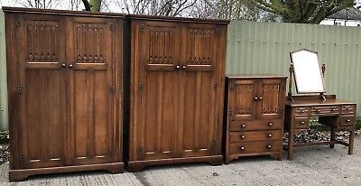 Rare Arts & Crafts Oak & Mahogany 4 Piece Linenfold Bedroom Suite 2-Man Delivery