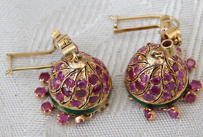 Beautiful vintage 9ct Gold and Precious Stone Ruby ? Pearl Dangly Earrings