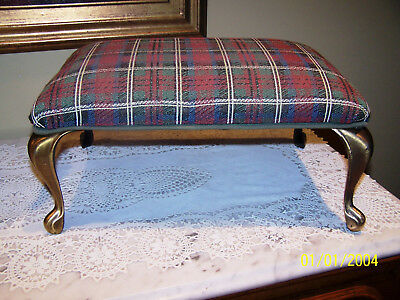 "Vintage Foot Stool With Brass Metal Legs & Plaid Cloth Covering 16"" x 10 1/2"""