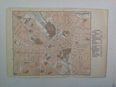 Central Bradford Street Plan, 1901  Antique Map, Bartholomew,  Original