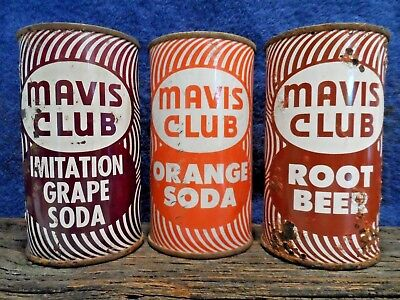 LOT OF THREE MAVIS CLUB FLAT TOP SODA CANS.(prezipcode)