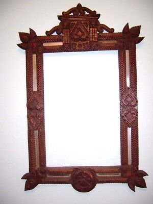 Large Antique Tramp Art Frame - ornate old layered  hand carved folk art