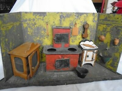 Antique Tin Lithograph Toy Kitchen W/accessories