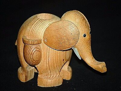 Old Vintage Wooden Wild Elephant Figurine Toothpick Holder Tableware Safari Decr