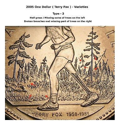 2005 - $1 - Terry Fox - Type-2 - Half Grass / Broken Branches On The Right - BU