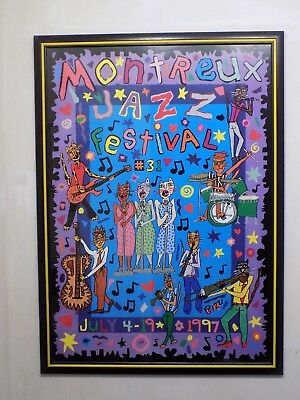 James Rizzi  ORIGINALPLAKAT - MONTREUX JAZZ FESTIVAL 1997  -  Design Rahmen
