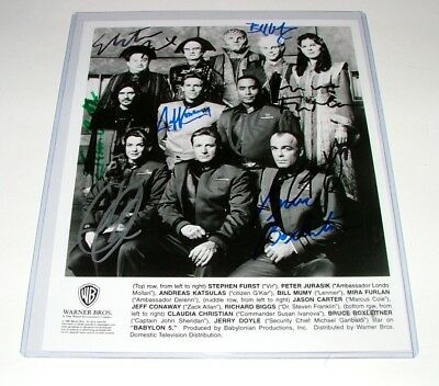 """8""""x10"""" """"babylon 5"""" Cast Promotional Photo Hand Signed X9 In Superb Condition"""