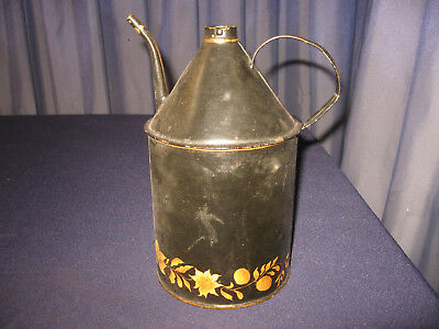 Antique Vintage Oil Can Dispenser Early Tole Brass Tip Spout Very Well Made