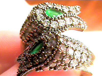Vintage Antique Emerald Duo Old  Silver Ring 9 Medieval Natural Sapphire Sterlin