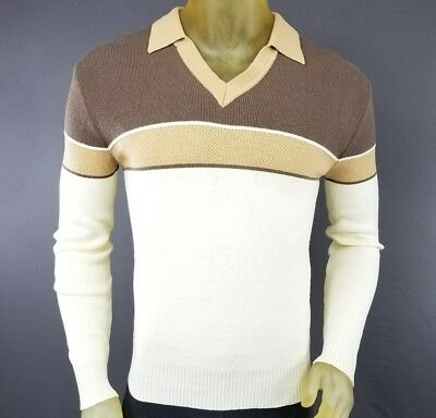 Vintage Kennington XL Long Sleeve Polo Shirt Brown Multi-Color Solid Stripe D6