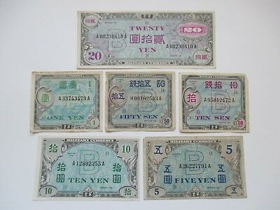 Lot Of 6 Different World War Ii Wwii Japanese Military Payment Currency Notes