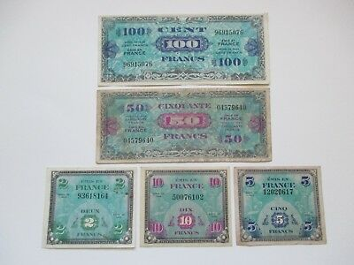 Lot Of 5 Different France French Military Currency Notes