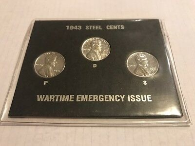 1943 Set Of Steel U.s. Wheat Cents~P-D-S~Wartime Emergency Issue