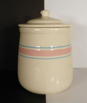 McCoy Pottery Sugar Canister and Lid Pink Blue Banded Stripes