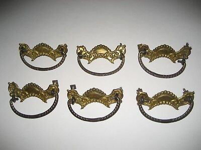 "Lot of 6 - Antique Brass Drawer Pulls - 3"" Centers"