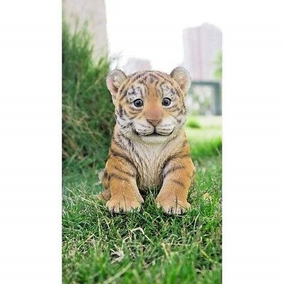 Tiger Baby Cub Sitting Decor New Realistic Life Like Garden Statue Free Shipping