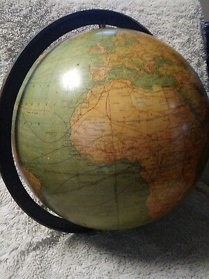 "Early Vintage Weber Costello 12"" Inch Globe with metal horizon band"