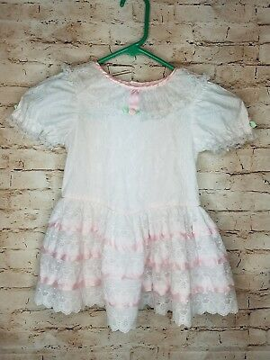 VINTAGE Ruffle Baby adorable VTG pink white lace dress /AA