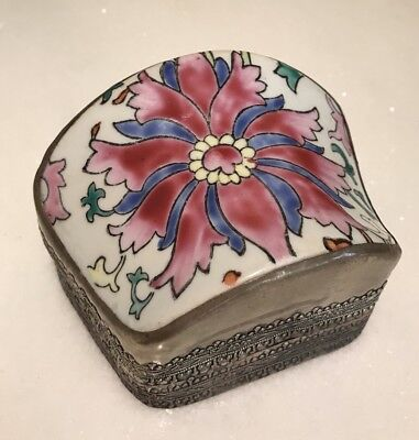 Vintage Chinese Asian Porcelain Shard Box Floral