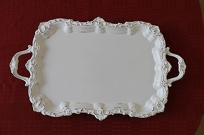 Vintage Shabby Cottage Decor White Chalk Painted Footed Silver Plate Tray Large